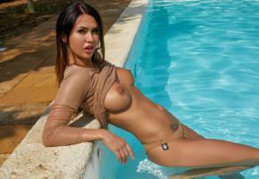 justyna, model, sexy, posing, big tits, natural tits, pool, tanned, panties, boobs, nipples