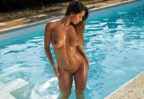 justyna, model, sexy, tanned, big tits, natural tits, trimmed pussy, naked, sexy body, wet, pool, nude, boobs, nipples, hot