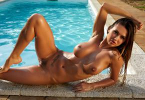 justyna, model, sexy, big tits, trimmed pussy, natural tits, perfect body, wet, pool, tanned, nude, boobs, nipples, hot