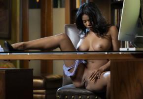 nia nicce, secretary, big boobs, ebony, boobs, big tits, nipples, shaved pussy, pussy, labia, spreading legs