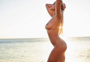 margot, model, sexy, naked, wet, beach, hot, big tits, blonde, nude, tanned, boobs, nipples, sea