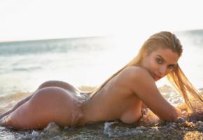 margot, sexy, model, ass, perfect ass, blonde, wet, beach, nude, tanned, boobs, big tits, sea