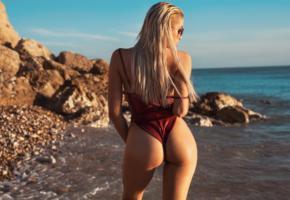 margot, model, sexy, ass, sexy ass, beach, blonde, monokini, tanned, sea, swimsuit