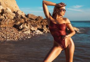 margot, model, sexy, beach, blonde, monokini, tanned, sea, swimsuit