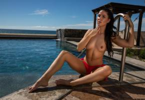 carmen nikole, sexy girl, brunette, chica, tits, nipples, tanned, pool, sea, topless, red