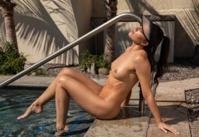 carmen nikole, sexy girl, brunette, chica, tits, nipples, tanned, pool, wet, sexy legs