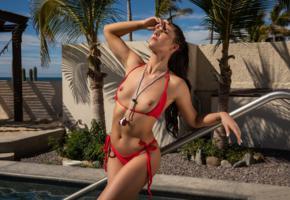 carmen nikole, sexy girl, brunette, chica, tits, nipples, tanned, red bikini, bikini, red swimsuit, wet
