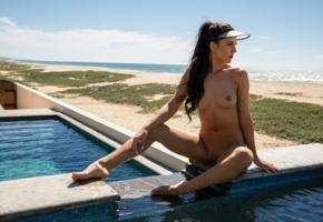 carmen nikole, sexy girl, brunette, chica, shaved pussy, tits, nipples, tanned, beach, sea, pool