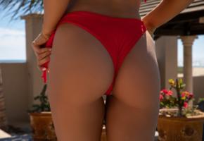 carmen nikole, sexy girl, brunette, chica, ass, red bikini