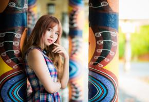asian, sweet, cute, girl, redhead