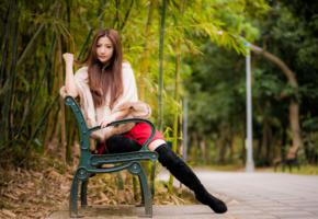 asian, sweet, cute, girl, long hair, boots