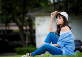 asian, sweet, cute, girl, cap, brunette, jeans