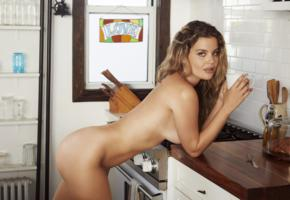 shelby rose, sexy girl, chica, nude, naked, pose, tanned, kitchen, ass