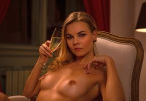kate jones, sexy, girl, chica, tanned, nude, big tits, boobs, nipples, champagne