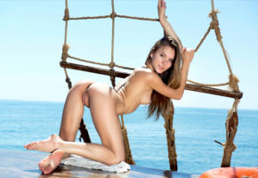 karissa diamond, dana p, delicia, karissa, katie a, model, pretty, blue eyes, long hair, smile, back, doggy, pussy, shaved pussy, labia, ass, legs, graceful feet, soles, sailboat, sea, ocean, outdoors, nude