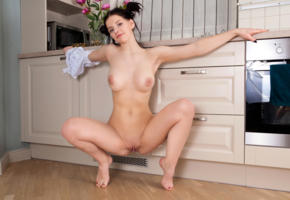 vienna, brunette, kitchen, naked, squatting, boobs, big tits, nipples, shaved pussy, labia, meat curtains, spread legs, smile, hi-q