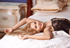 talia, blonde, sweet, cute, sexy girl, chica, bed, pillows, black lingerie, lingerie