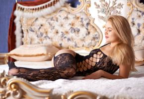 talia, blonde, sweet, cute, sexy girl, chica, bed, pillows, body stocking, sexy legs, stockings, black stockings, black lingerie, lingerie