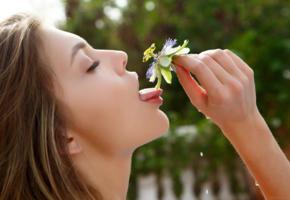 monika dee, teen, outdoors, wet, lick, flower, oral fixation