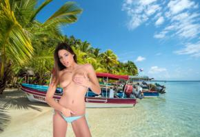 zafira, brunette, beach, boat, bikini, topless, boobs, tits, nipples, handbra, sexy, hi-q, sea