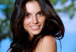 aleksandrina, model, dark hair, long hair, russian, pretty, smile, face, portrait
