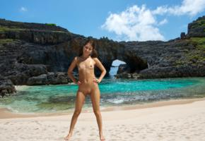 riley reed, brunette, beach, naked, boobs, small tits, nipples, shaved pussy, tanlines, wet, smile, hi-q, riley reid, skinny, oiled, tan lines, sea