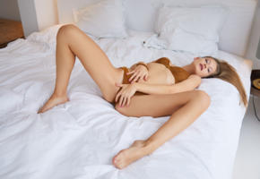 tiffany tatum, brunette, bed, lingerie, bra, panties, spread legs, hi-q