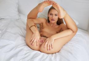 tiffany tatum, brunette, bed, naked, boobs, tits, nipples, bush, pussy, spread labia, ass, anus, legs up, hi-q