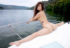 irene rouse, model, brunette, long hair, sensual lips, back, flexible, ass, tattoo, boat, river, nude, split