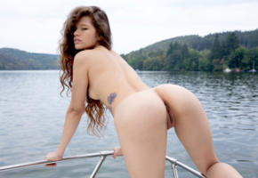 irene rouse, model, brunette, long hair, sensual lips, back, doggy, pussy, shaved pussy, labia, anus, ass, tattoo, boat, river, nude