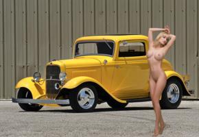 lia, blonde, hotrod, yellow, naked, boobs, big tits, nipples, landing strip, pussy, hi-q