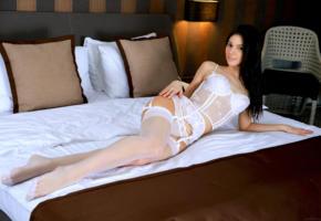 aleksandrina, model, dark hair, long hair, undies, underwear, white stockings, stockings, garters, suspenders, lingerie, bed, bedroom, non nude, white lingerie