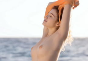 redhead, cute, boobs, tits, nipples, sea, undressing, heidi r, vanessa, adel c, heidi romanova