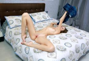 elle tan, elle, model, brunette, long hair, pretty, tits, open legs, pussy, shaved pussy, labia, long legs, bed, bedroom, nude