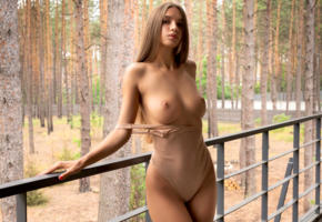 alina, model, brunette, long hair, sensual lips, pretty, bodysuit, big tits, tits, boobs, perfect tits, outdoors, lingerie