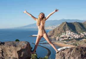 casey, blonde, outdoors, mountains, sea, naked, boobs, tits, shaved pussy, labia, spread legs, smile, ultra hi-q