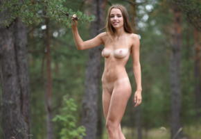 saloma, maxa, maxa z, morea, nude, shaved pussy, tanned, tan lines, brunette, smile, boobs, tits, nipples, skinny, forest