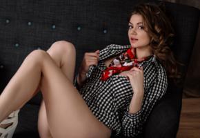 sexy, legs, girl, brunette, blouse