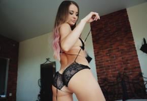 lili f, babe, panties, brunette, ass, black lingerie, sexy