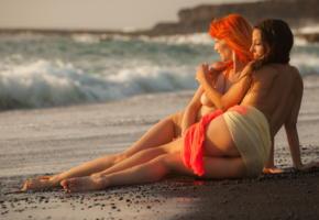 ariel piper fawn, lorena b, vulcan beach, low sunlight, beach, sea, ocean, nude, sand, boobs, tits, ass