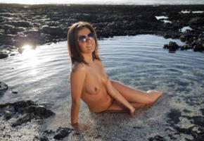 zelda b, zelda, arina b, tania r, water, wet, sexy, naked, boobs, tits, brunette, hot, model, smile, legs, sunglasses, feet, outdoor, tanned, nipples