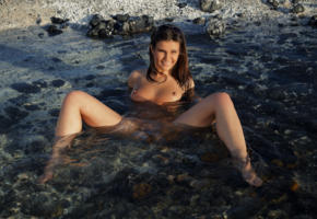 zelda b, zelda, arina b, tania r, water, wet, sexy, naked, boobs, tits, brunette, hot, model, smile, legs, sunglasses, feet, outdoor, tanned, nipples, spreading legs, pussy, shaved pussy