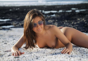 zelda b, zelda, arina b, tania r, water, sexy, naked, boobs, tits, brunette, hot, model, smile, legs, sunglasses, outdoor, tanned, nipples