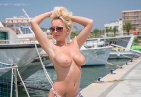 bethany morgan, blonde, tits, sunglasses, posing, sexy, boobs, big tits, nude, nipples, yacht