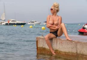 bethany morgan, blonde, tits, sea, boobs, big tits, topless, yacht, tanned