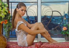 nastya k, brunette, window, sitting, sexy, beauty, tanned, legs