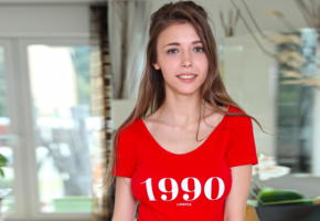 mila azul, face, red bodysuit, brunette, smile