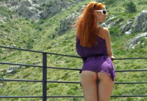 redhead, upskirt, pussy, labia, butt, thigh gap, balcony, grass, long hair, sunglasses, bottomless, ariel, piper fawn, ariel piper fawn, gabrielle lupin, faith lightspeed, ass