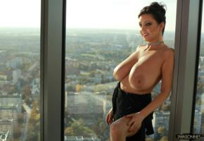 ewa sonnet, brunette, tits, huge tits, nipples, windows, hooters, boobs, big tits, topless, smile