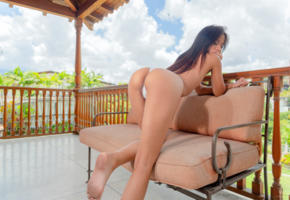 karin torres, horny, latina, ass, exotic, tanned, topless, white panties, brunette, long hair
